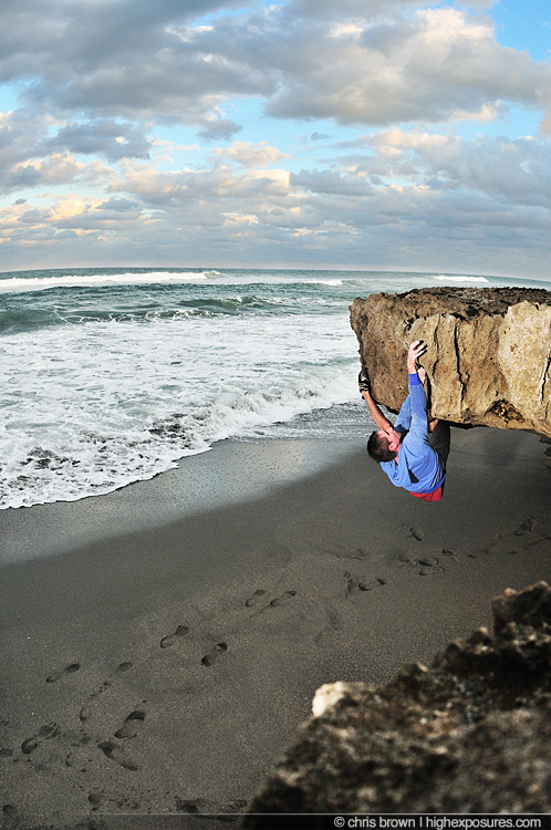 Mark Mercer beach bouldering in Florida.